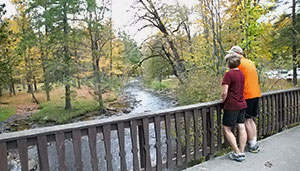 Couple on bridge admiring the stream underneath.